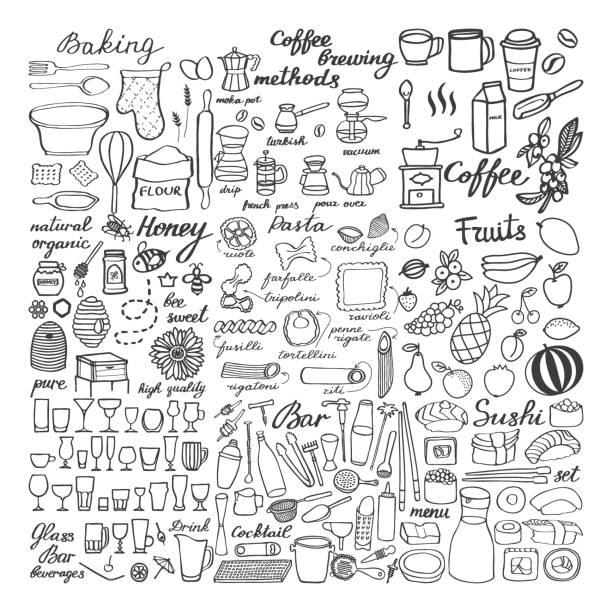 큰 음식 세트 스케치, 식품의 그림 낙서 - baking stock illustrations