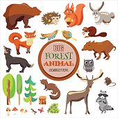 Big Forest Funny Animals Set. Vector Collection