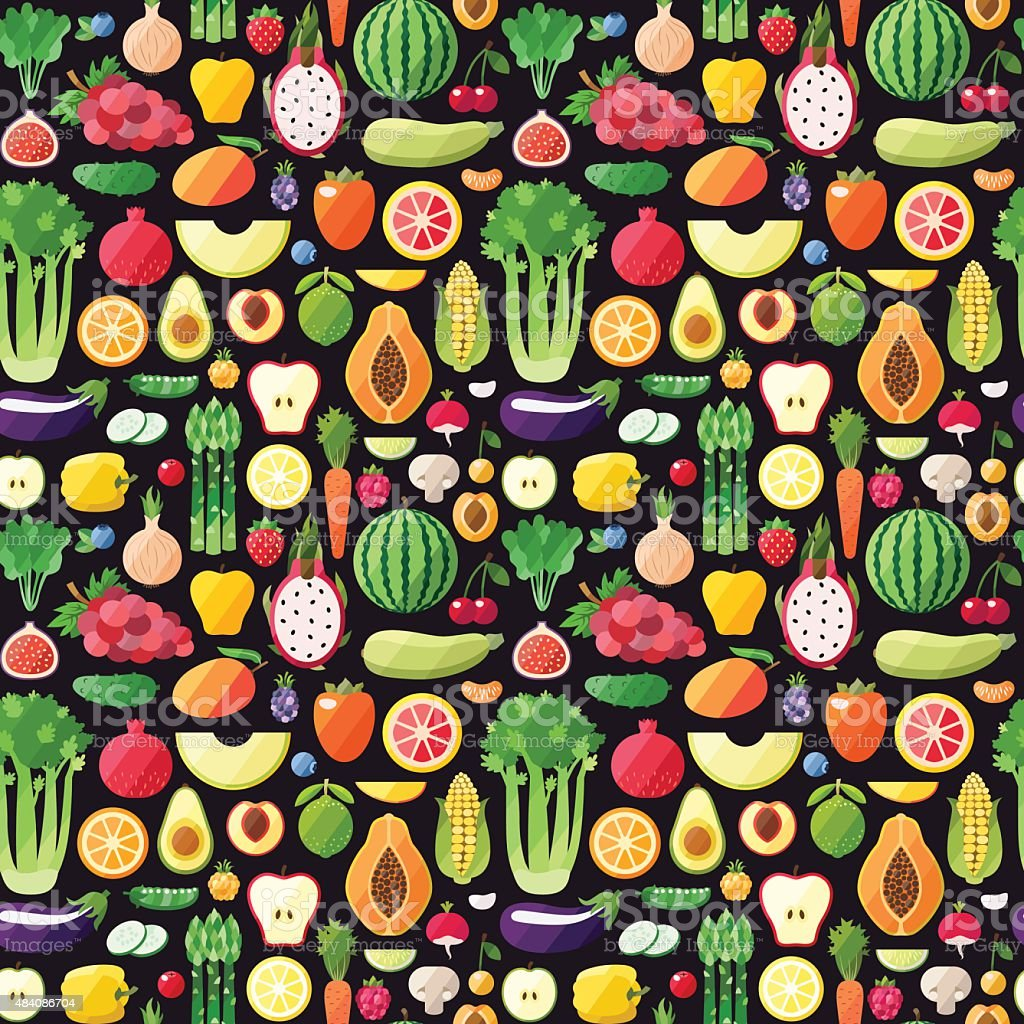 Big fruits and vegetables seamless vector pattern. Modern flat design. vector art illustration