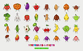 Big fruts and vegetable nuts set. Happy food characters. Food sticker set