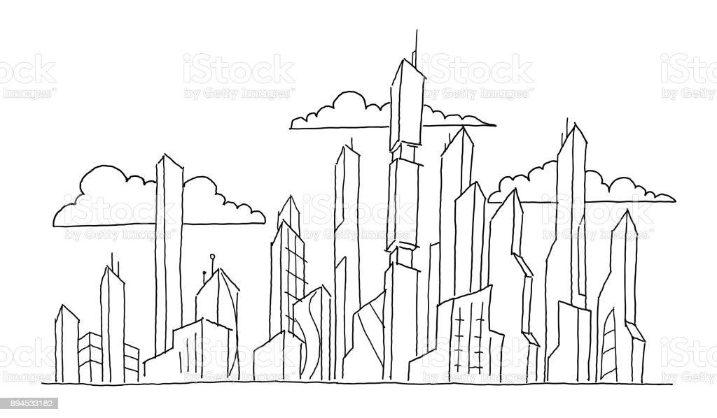 Handy Stadtische Strasse Zeichnen Russland Architektur Zukunftige Grossstadt Wolkenkratzer Skizze Hochhauser