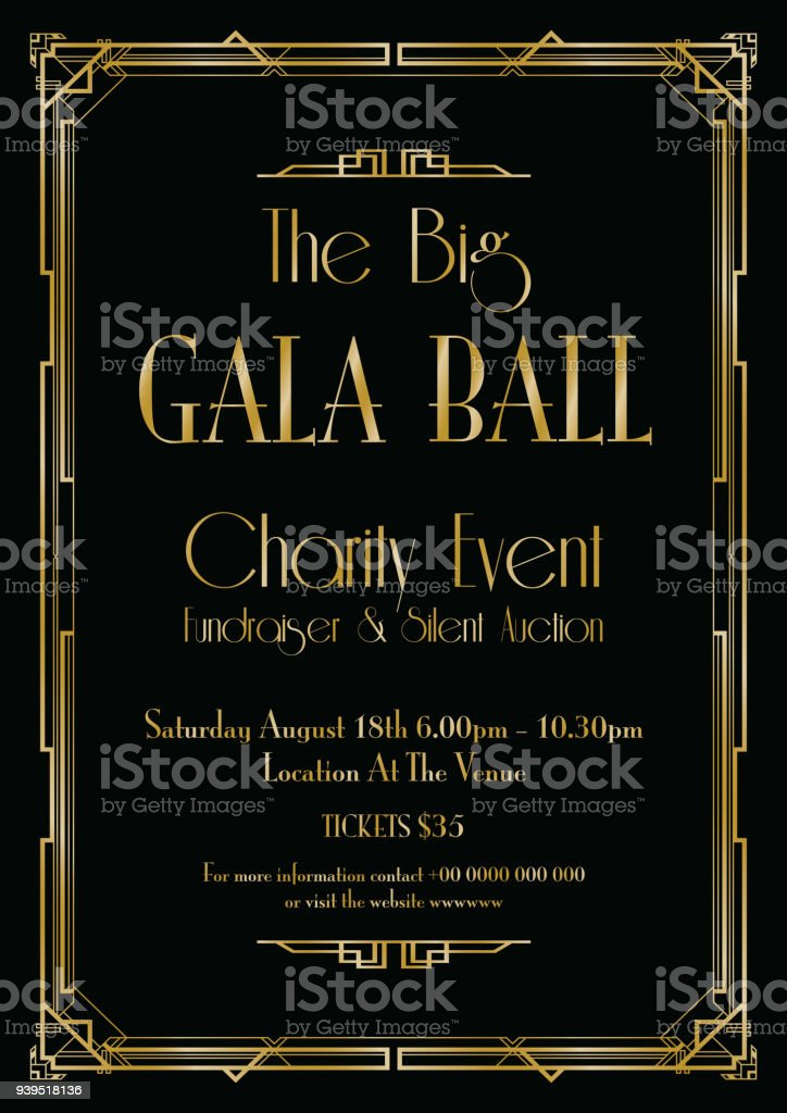big gala ball art deco background vector art illustration