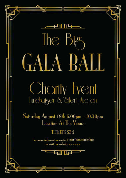 big gala ball art deco background - 1920s style stock illustrations, clip art, cartoons, & icons