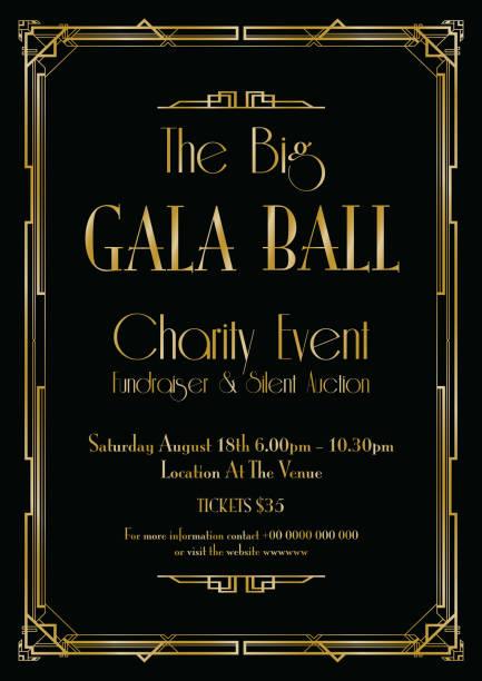 big gala ball art deco background vector art illustration