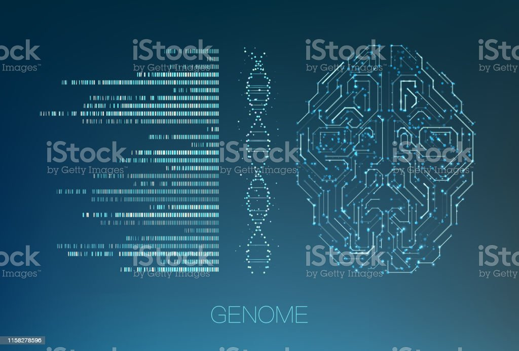 Big genomic data visualization Big genomic data visualization. DNA test, genom map. Graphic concept for your design Abstract stock vector