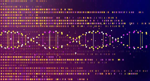 Big genomic data visualization Big genomic data visualization. DNA test, genom map. Graphic concept for your design genomics stock illustrations