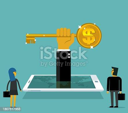 istock big gold dollar shaped key 1307517353