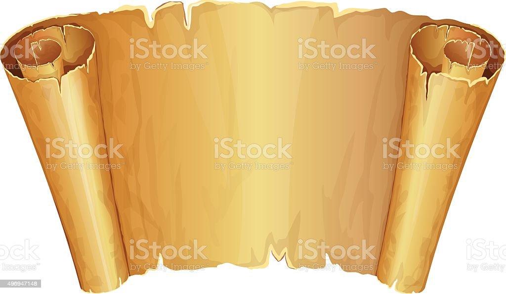 Big golden scroll of parchment vector art illustration