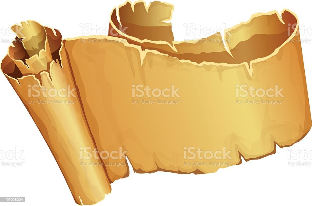 Big golden scroll of parchment vector art illustration