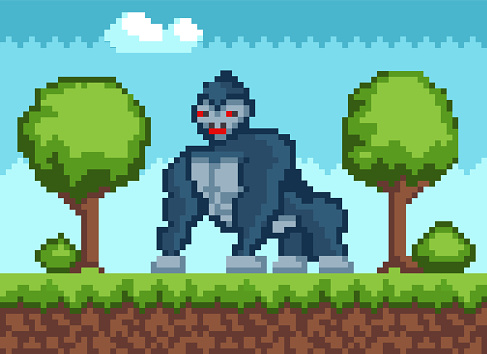 Big gorilla in forest in pixel-game. Animal walks in woods among trees. King kong with red eyes