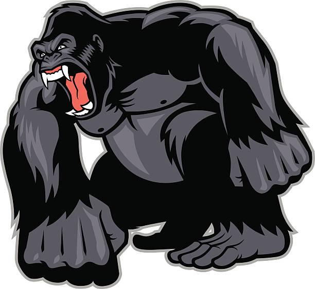 ilustraciones, imágenes clip art, dibujos animados e iconos de stock de big gorila mascot - gorila