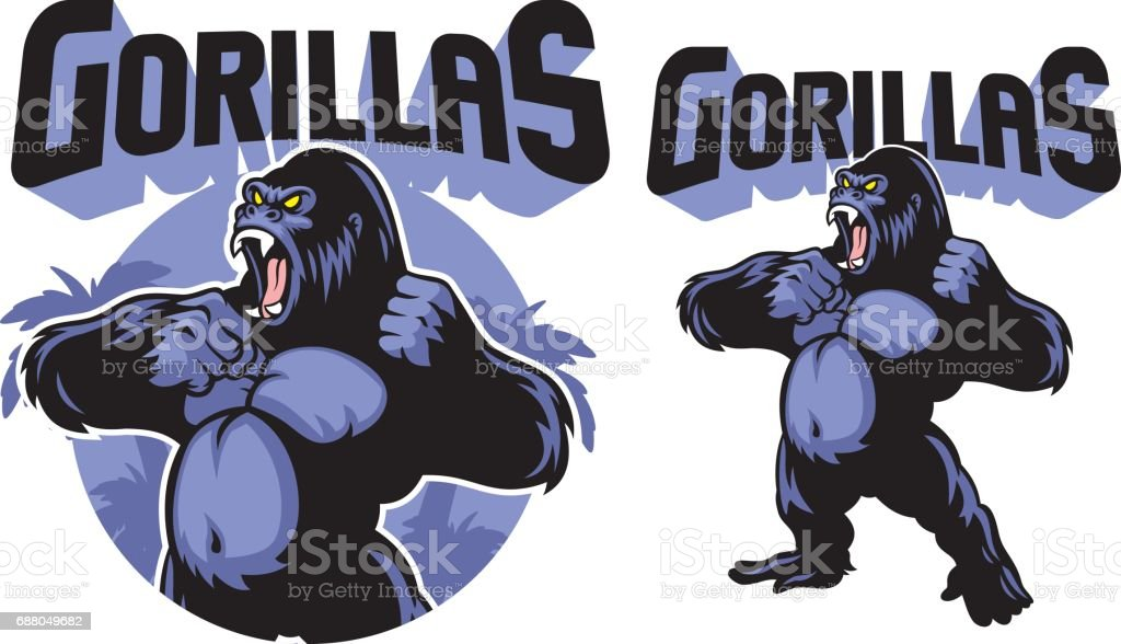 Big Gorilla mascot vector art illustration