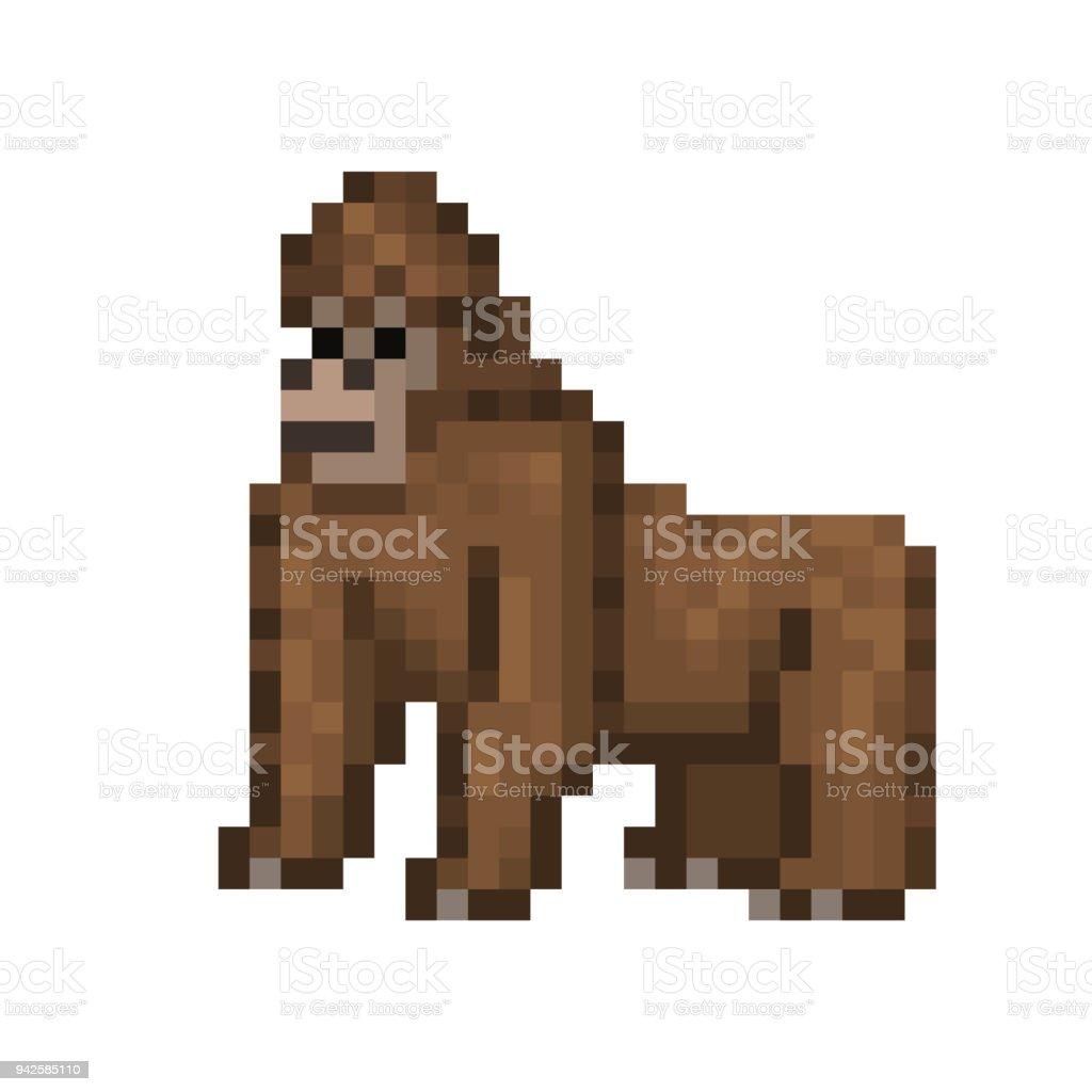 Vetores De Gorila De Pé No Chão Personagem De Arte Pixel