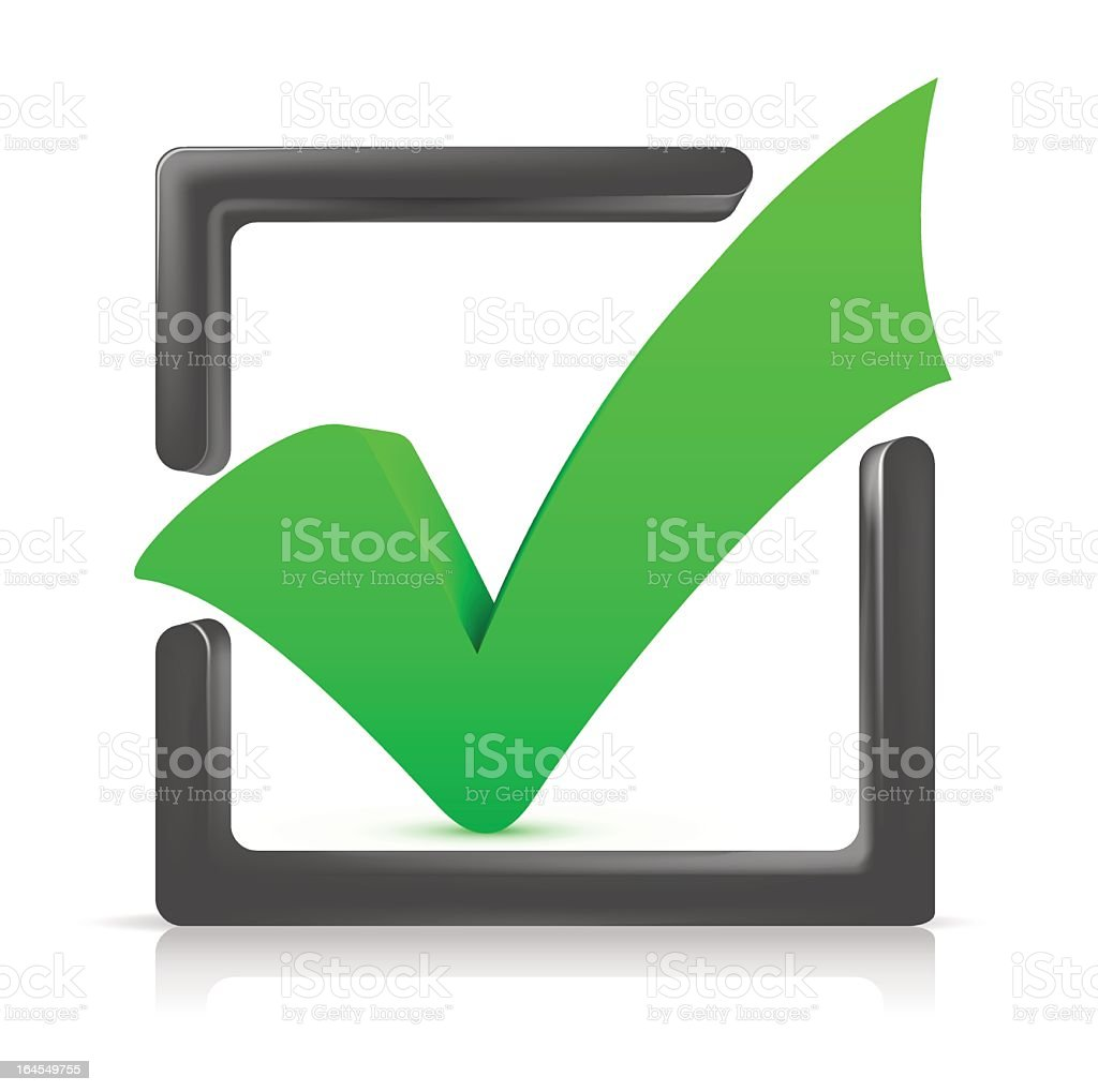 Big green checkmark in a 3D gray box outline royalty-free big green checkmark in a 3d gray box outline stock vector art & more images of achievement