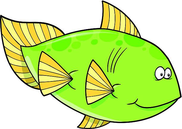 Big Green Fish vector art illustration