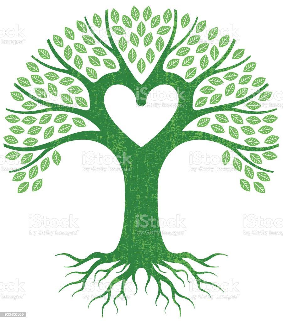 Vectores de árbol de gran corazón verde - ilustración de arte vectorial