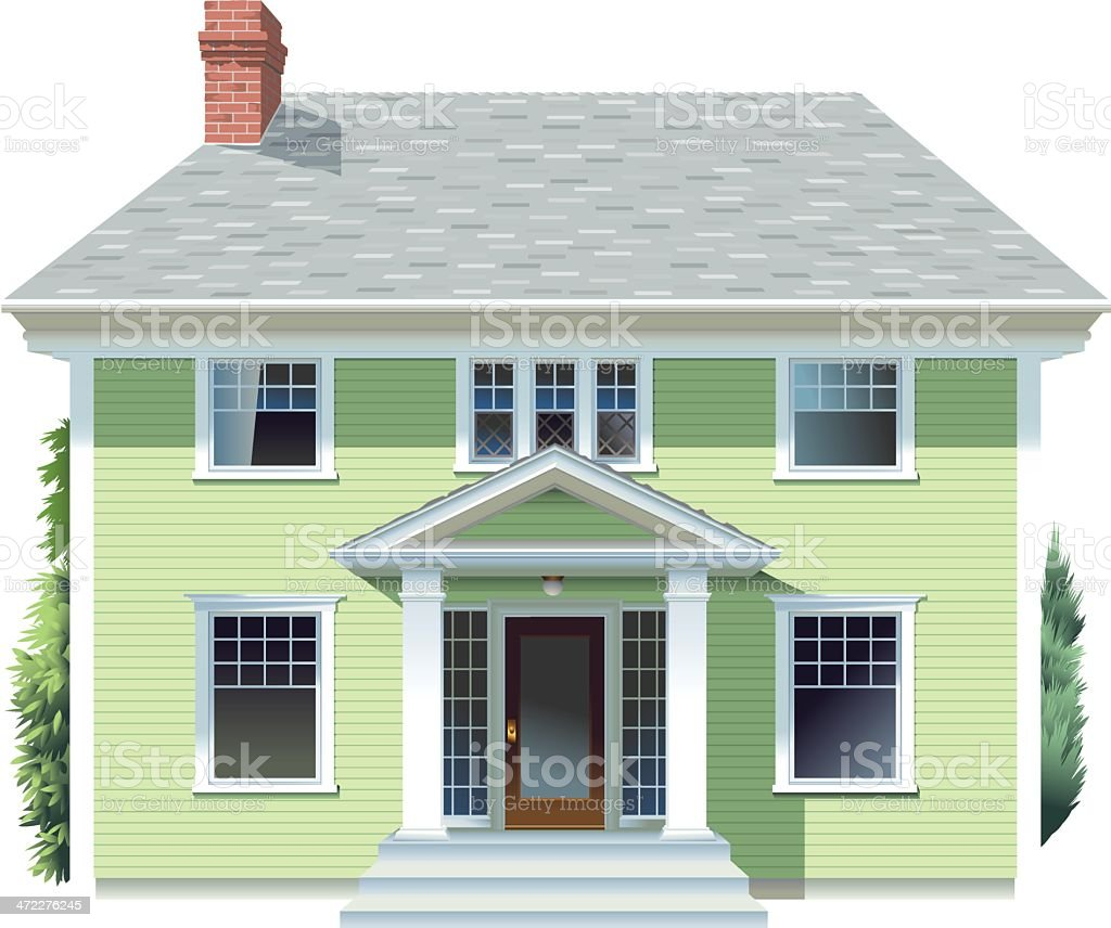 Big Green House vector art illustration