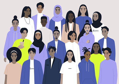 A big group of characters, a diverse community, people of color