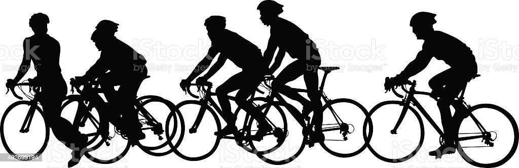 Big groups of cyclists vector art illustration