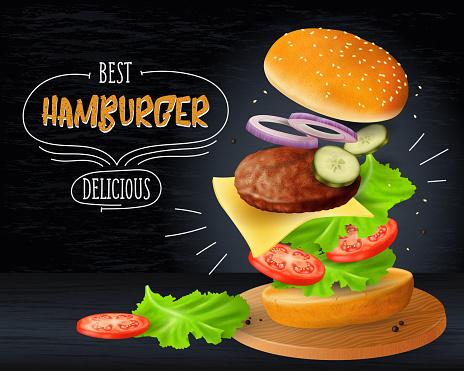 Big hamburger advertisement on wooden blackboard background