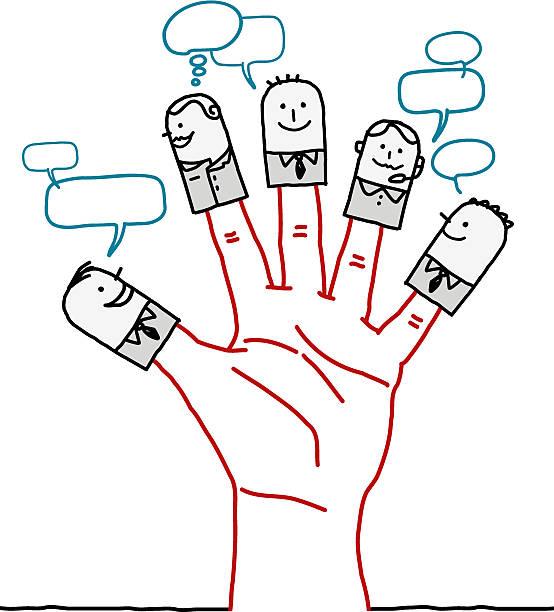 illustrazioni stock, clip art, cartoni animati e icone di tendenza di grande mano e fumetto carattere sociale rete aziendale - mano donna dita unite