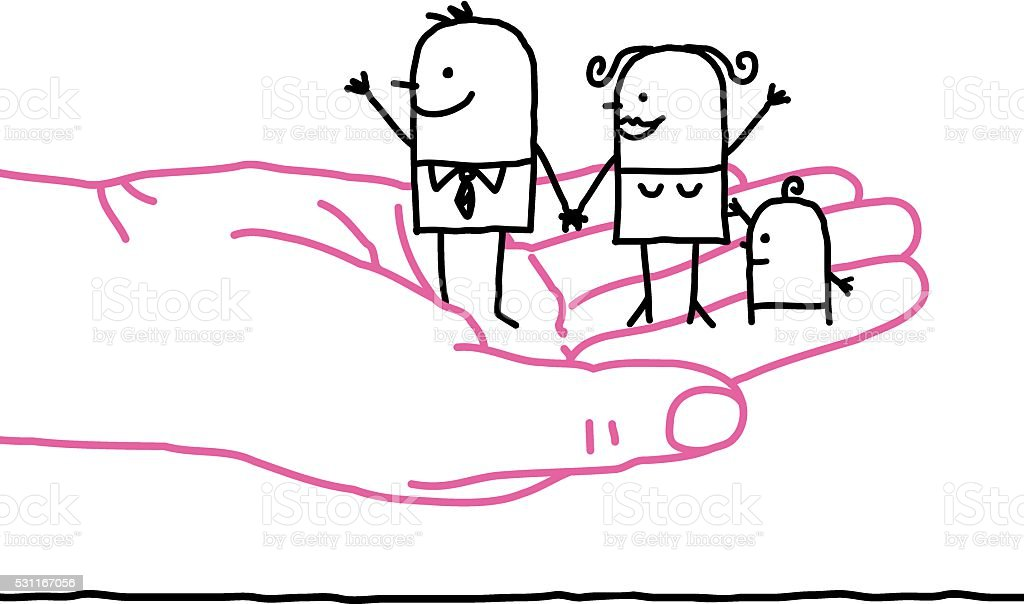 Big Hand And Cartoon Family Kindness Stock Illustration Download