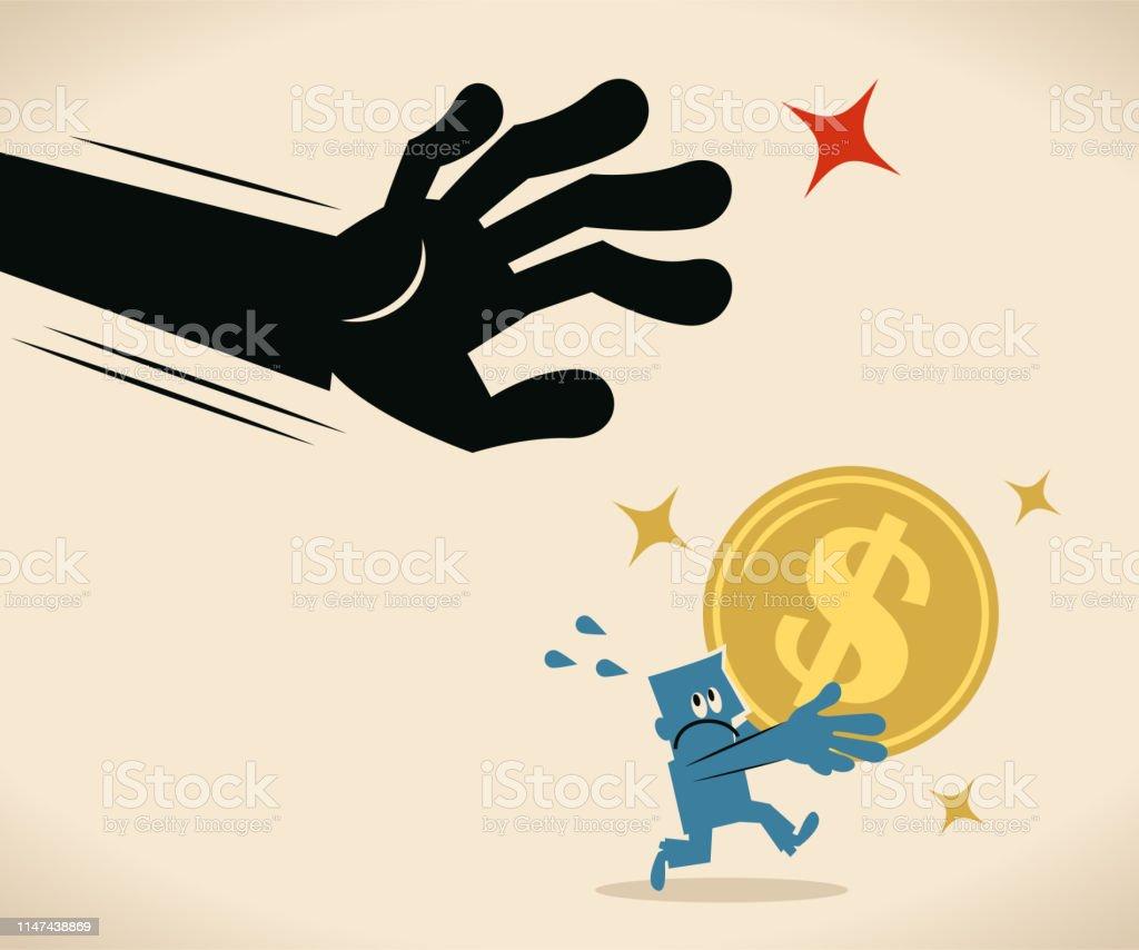 ドル記号を持つエスケープビジネスマンを捕まえる大きな手通貨コイン ...