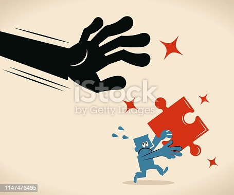 Blue Little Guy Characters Full Length Vector art illustration. Big hand catching an escaping businessman holding a Jigsaw Piece.
