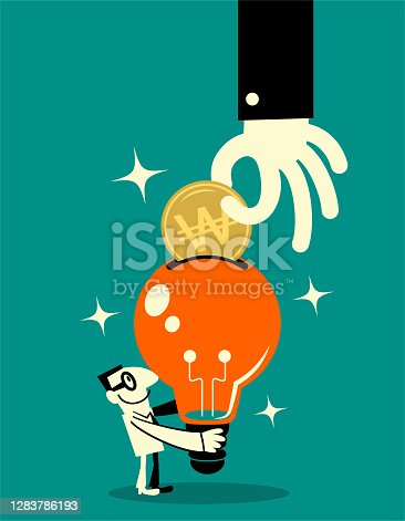 Business Characters Full Length Vector Art Illustration. Big hand client puts Korean Won currency into a big idea light bulb that is offered by a smiling creative businessman; To invest in your idea; To earn a living from the knowledge you already have; Turning your imagination into money.