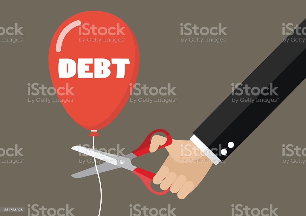 Big hand cutting debt balloon string with scissors vector art illustration