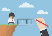 Big hand drawing bridge for help businessman to cross abyss