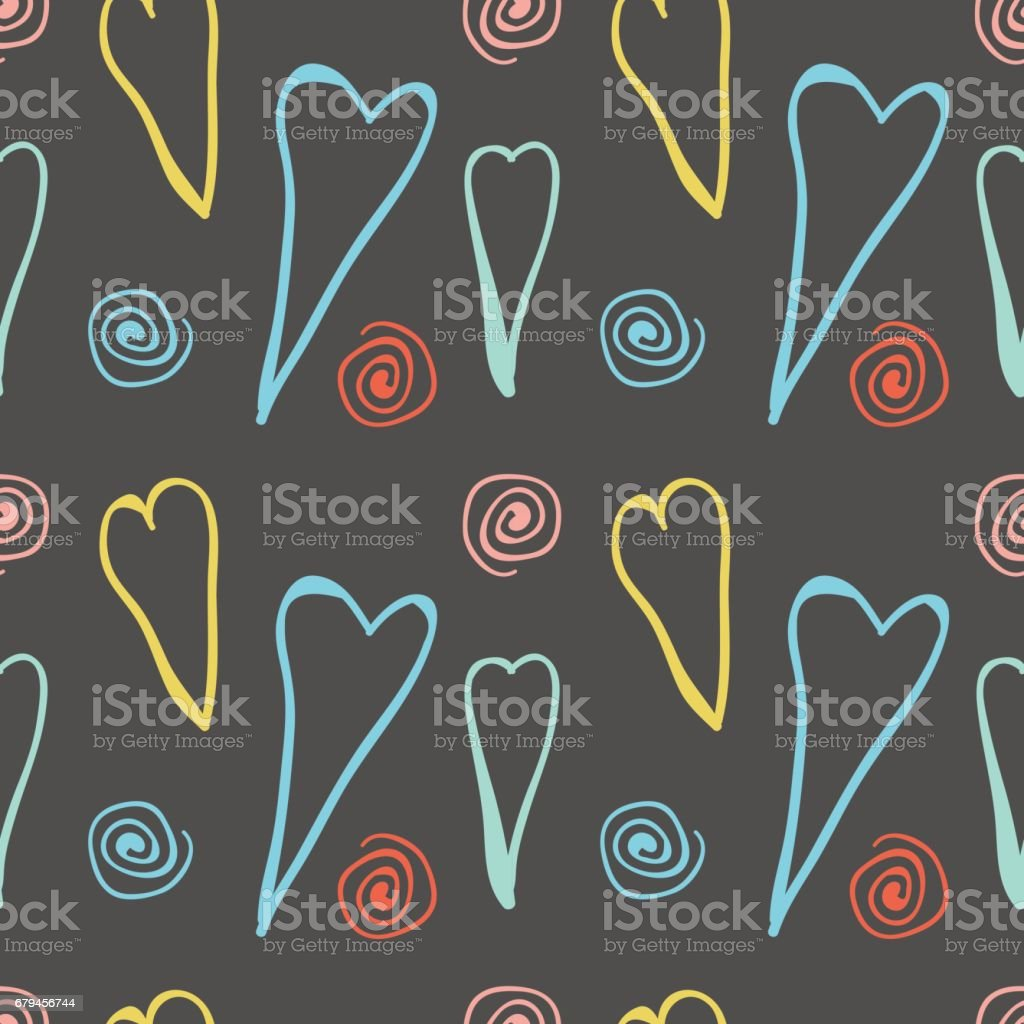 Big Hand Drawn Hearts Seamless Pattern royalty-free big hand drawn hearts seamless pattern stock vector art & more images of abstract