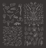 Big hand drawn nature pack. Hunting. Diverse Skulls and Bones Set. Logs. Wood. leaves doodles set. Black silhouettes on white background.Isolated. Vector.