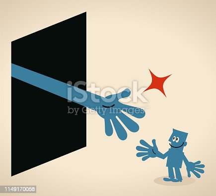 Blue Little Guy Characters Full Length Vector art illustration. Big hand from a door inviting a businessman, or playing Rock Paper Scissors.