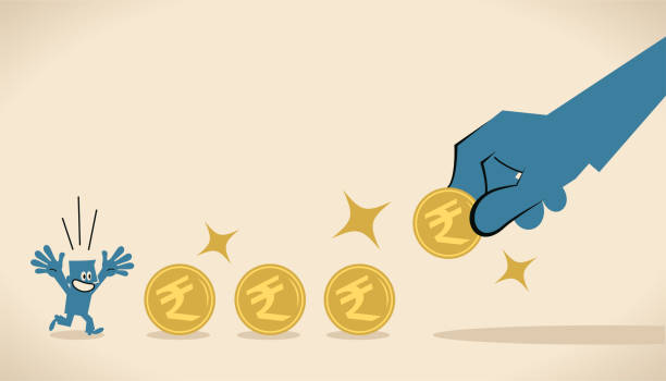 Big hand gives Indian Rupee coin currency money to entice (motivate) a businessman vector art illustration