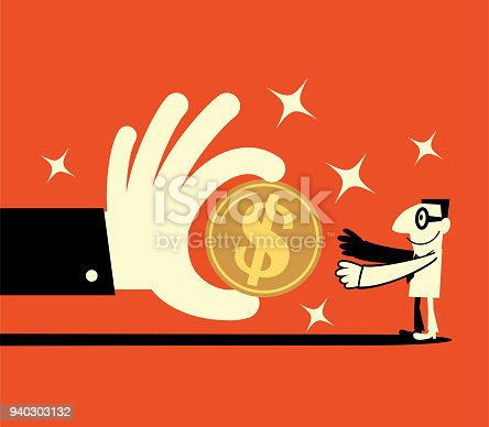 Businessman Characters Vector art illustration.Copy Space, Full Length. Space, Full Length. Big hand giving a big dollar sign currency money to a smiling businessman (banking payment, lottery, perks, wages).
