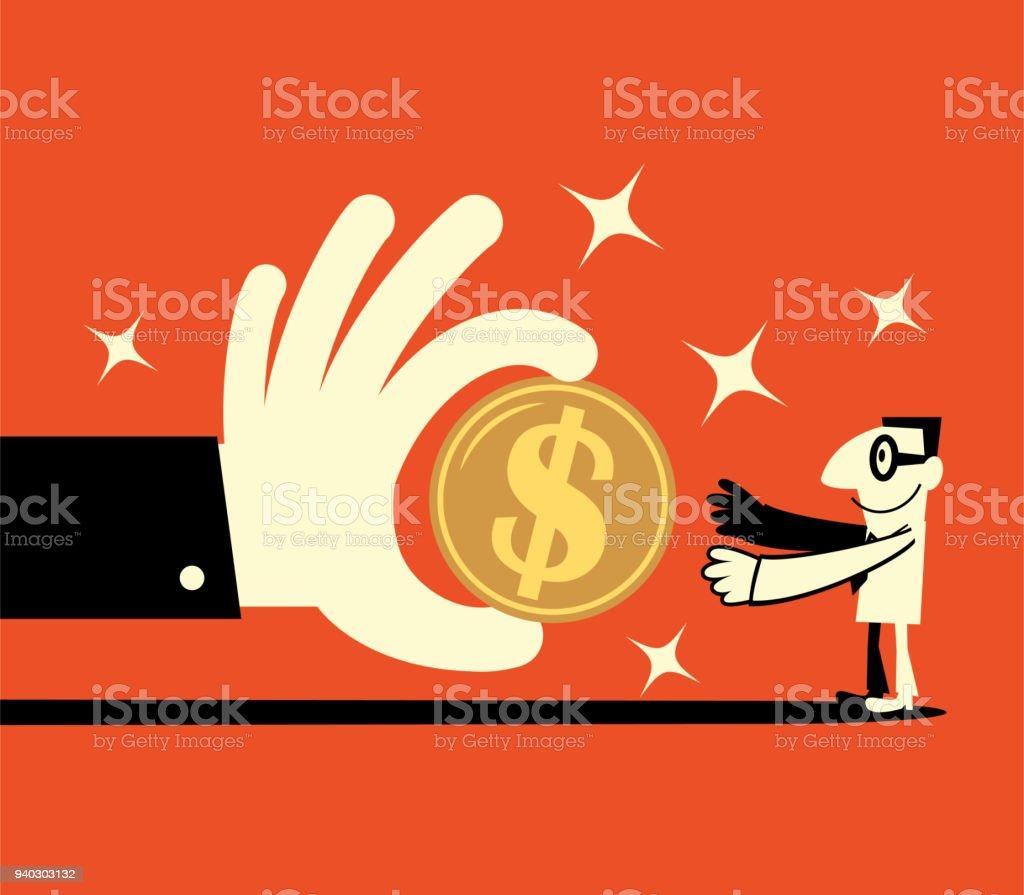 Grande mão dará um grande sinal de dólar moeda para um empresário sorridente (bancário pagamento, loteria, regalias, salários) - ilustração de arte em vetor
