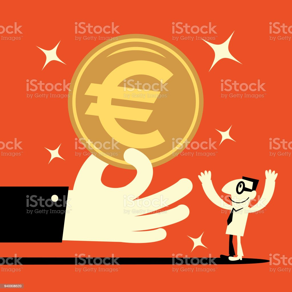 Big hand giving a big euro symbol currency money (european union coin) to a smiling businessman (banking payment, lottery, perks, wages) vector art illustration