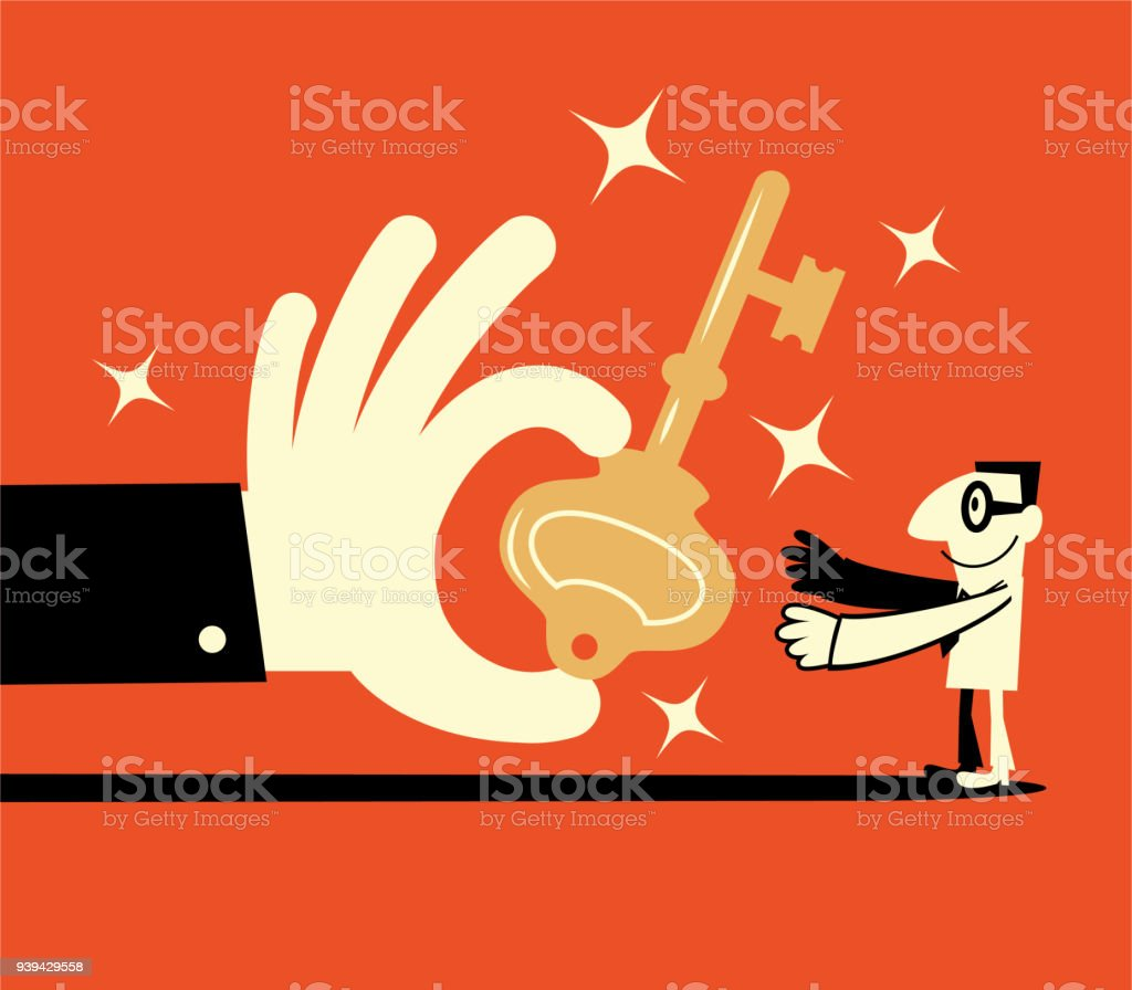 Big hand giving a big key to a smiling businessman (solution) vector art illustration