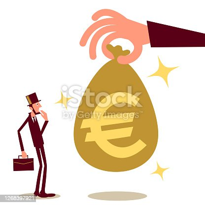istock Big hand giving (paying) a businessman (entrepreneur) money bag with European Union Euro sign; cash handout, universal basic income, unexpected good fortune 1268397921
