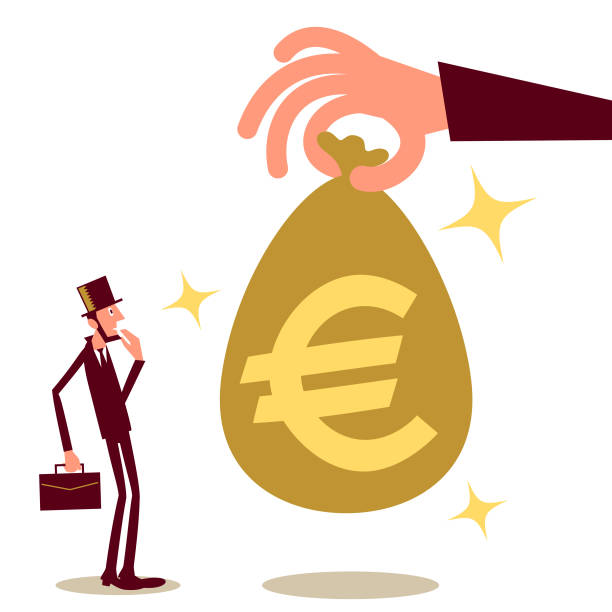 Big hand giving (paying) a businessman (entrepreneur) money bag with European Union Euro sign; cash handout, universal basic income, unexpected good fortune Business Characters Vector Art Illustration. Big hand giving (paying) a businessman (entrepreneur) money bag with European Union Euro sign; cash handout, universal basic income, unexpected good fortune. stimulus check stock illustrations