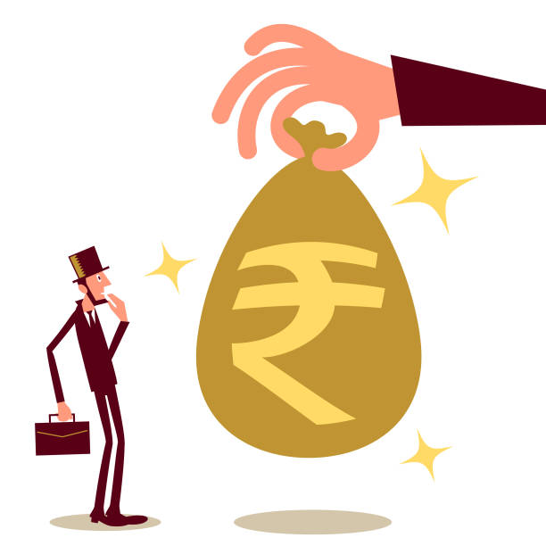 Big hand giving (paying) a businessman (entrepreneur) money bag with Indian Rupee sign; cash handout, universal basic income, unexpected good fortune Business Characters Vector Art Illustration. Big hand giving (paying) a businessman (entrepreneur) money bag with Indian Rupee sign; cash handout, universal basic income, unexpected good fortune. stimulus check stock illustrations