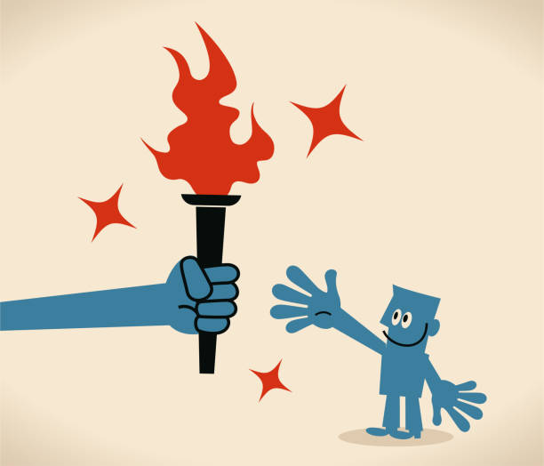bildbanksillustrationer, clip art samt tecknat material och ikoner med stor hand ger en flammande fackla till en affärsman - hand tänder ett ljus
