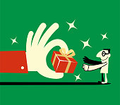 Unique Characters Full Length Vector art illustration.Copy Space. Big hand giving a gift box to a businessman (scholar).
