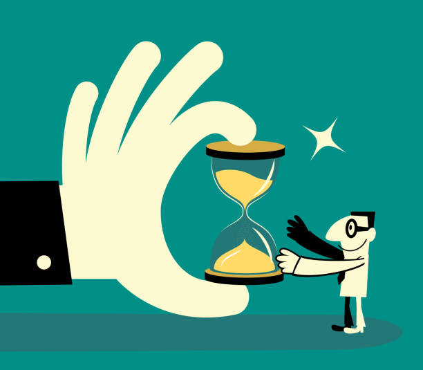 Big Hand giving a hourglass sandclock to a businessman vector art illustration