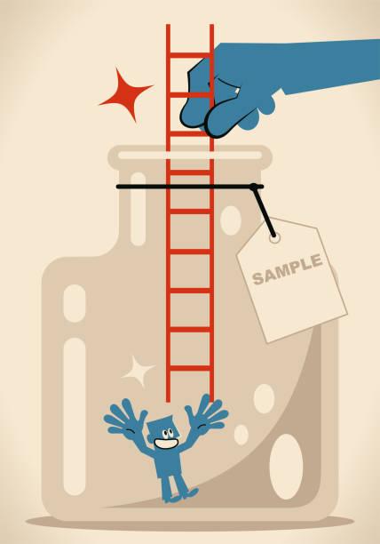 ilustrações, clipart, desenhos animados e ícones de mão grande que dá uma escada para que um homem de negócios escale acima do frasco de vidro com etiqueta - desenhos aleatórios e à mão livre