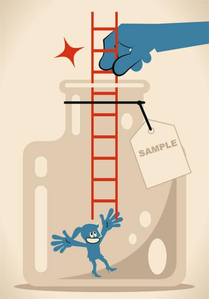 ilustrações, clipart, desenhos animados e ícones de mão grande que dá uma escada para que uma mulher de negócios escale acima do frasco de vidro com etiqueta - desenhos aleatórios e à mão livre