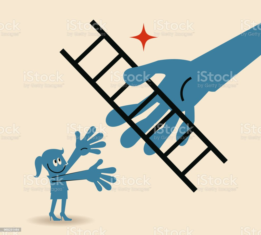 Big hand giving a ladder to help businesswoman move up, way to success concept royalty-free big hand giving a ladder to help businesswoman move up way to success concept stock vector art & more images of a helping hand