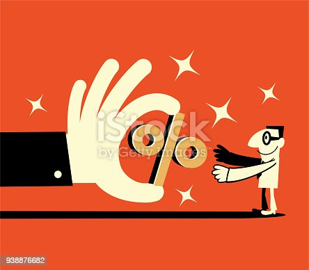 Businessman Characters Vector art illustration.Copy Space, Full Length. Big hand giving a percentage sign to a smiling businessman (customer), discount marketing promotion sales.