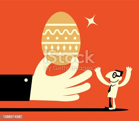 Unique Characters Full Length Vector art illustration.Copy Space. Big hand giving big gold Easter Egg to man.